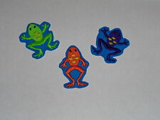 "Set of 3 ""Colorful Frogs"" Iron-On Embroidered Patches"