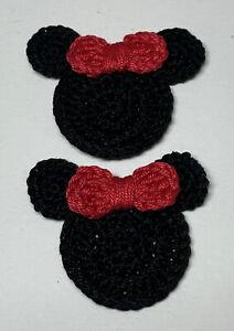 2 Pcs Mini Minnie Mouse Head Applique Embellishment - RED RIBBON
