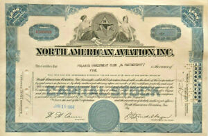 North American Aviation stock certificate > aerospace manufacturer now Boeing