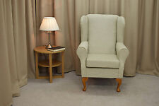 Small Westoe Wing Back Fireside Armchair in a Conway Oyster Fabric