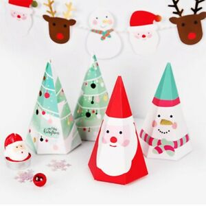 5PCS Christmas Tree Triangle Party Paper Favour Box Candy Sweets Gift Boxes Pack