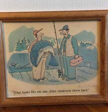 Leo Cullum Signed Cartoon Art Print Two Men Fishing Allen Anderson 1987 Original