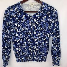 LL Bean Cardigan Sweater Floral Button Down M Petite Cotton Womens Work Casual