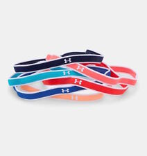 UNDER ARMOUR UA Girls 6 Pack Headbands Red Pink Orange Teal Blue Navy - ONE SIZE