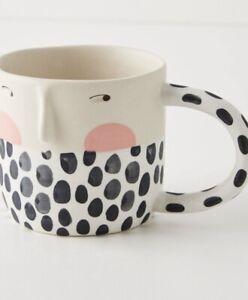 NEW ANTHROPOLOGIE COFFEE TEA LATTE MUG CUP VISAGE ARTIST FOTINI TIKKOU HANDPAINT