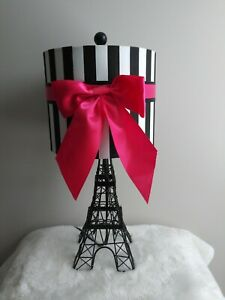"""18"""" Black Metal Eiffel Tower Table Lamp With Shade Black/White/Pink"""