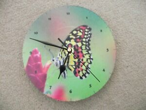 """STUNNING BUTTERFLY 7"""" WALL CLOCK upcycled"""