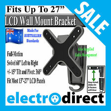 "Full-Motion 13""-27"" LED LCD TV Tilt Pivot Swivel Flat Panel Wall Mount Bracket"