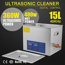 15L Professional Industrital Digital Ultrasonic Cleaner Timer Tank Basket New