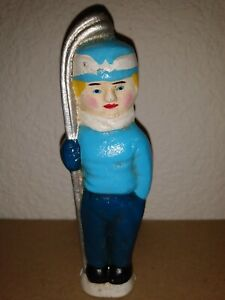 """Vintage Cast Iron Snow Skier Coin Bank Painted Figurine 5 1/2"""" Tall"""