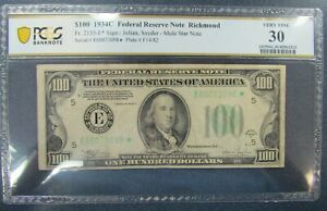 Rare 1934 C $100 Federal Reserve Star / Mule Note, Fr#2155-E Richmond PCGS VF30