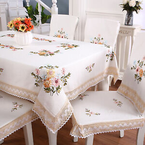 Vintage Hand Embroidery Lace Tablecloth Dining Table Cloth Cover Wedding Party
