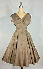 Vintage 1950's 50s Mocha soft brown flocked 'Cat Tails' Rhinestone Formal Dress