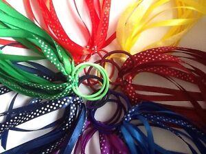 2x Winter Uniform School Streamer Hair Ribbons Bobble Band