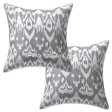 Living Room Cotton Kantha Decorative Sofa Pillow Cover Grey Ikat Cushion Cover