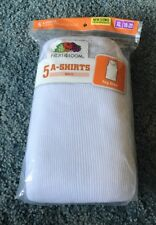 New! Fruit of the Loom Boys' 5 Pack White A-Shirts Size X-large (18-20). Tagless