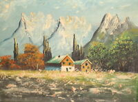 Vintage oil painting impressionist mountain landscape houses