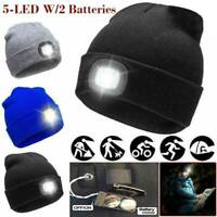 NEW Beanies Hat With LED Head Light Torch Knitted Baggy Cap with 2 Batteries NEW