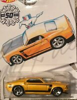 Hot Wheels 69' Boss Ford Mustang Larry Wood 50th Anniversary New On Card Mint