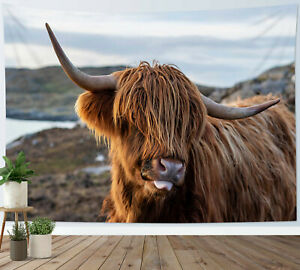 Funny Brown Highland Cow Tapestry Farmhouse Wall Hanging For Living Room Bedroom