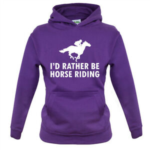 I'd Rather Be Horse Riding - Kids Hoodie Equestrian Horses Ride Riding Rider