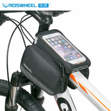 Black Bike Front Tube Double Bag Frame Pannier Touchscreen Pouch For Cell Phone