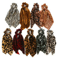 Leopard Print Knotted Scrunchies DIY Ponytail Hair Scarf Bow Hair Rope Ring F016