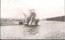 Manchester Ship Canal - New Dock - blasting during construction - postcard