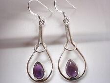 Amethyst with Halo 925 Sterling Silver Dangle Earrings Corona Sun Jewelry