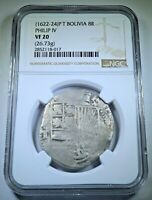 NGC 1622-24 Spanish Bolivia Silver 8 Reales 1600s Large Colonial Pirate Cob Coin