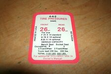 1969 OLDSMOBILE 442 4-4-2 TIRE PRESSURE SPECIFICATIONS DECAL STICKER NEW