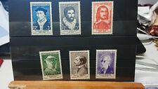 lot 6 Timbres France Personnages célèbres  du XVème au XXème siècle 1956