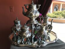 Vintage coffee/tea service set with mirror/tray. Sterling silver 800. 7 items