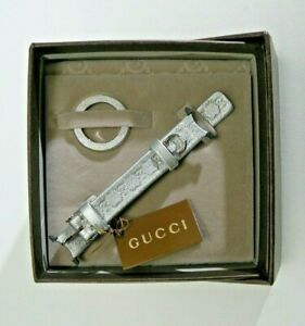 Gucci YFA50021 Silver Leather Grey Pouch Interchangeable U-Play Watch Strap DS08