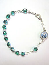 Rosary Bracelet Emerald Crystal Beads Lady of Grace / Divine Mercy Charm Italy