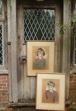 WILLIAM DRING. RA (1904-1990) signature PAIR pastel portraits children. Special!