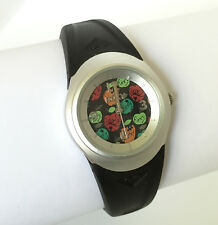 Roxy NOOKIE AL Ladies Sports Watch • W141BR • Black PU Band with Apples on Face