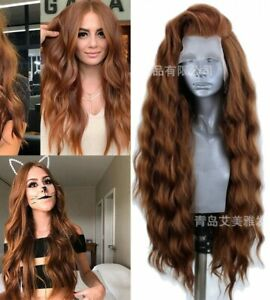 24inch Synthetic hair Lace front wigs Full Head Women Handtied Wavy Long Brown