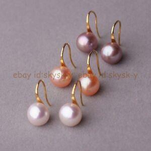3Pairs Women's 11-12MM White Pink Purple Freshwater Pearl Hook Dangle Earrings