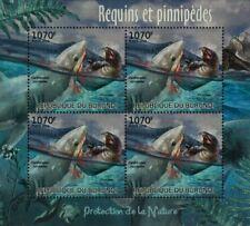 Sea & Marine Life: Great White Shark & Seal Stamp Sheet #3 (2012 Burundi)