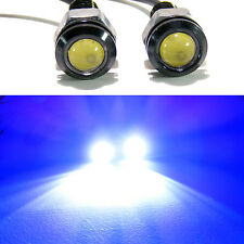 2x Blue 1.5W 18mm LED Bolt On Screw Eagle Eye Fog Driving Lights Car Motorcycle