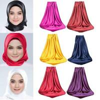 Plain Satin HIJAB Scarf Sarong Soft Elegant Satin Scarves Shawl 90x90CM U3Y5