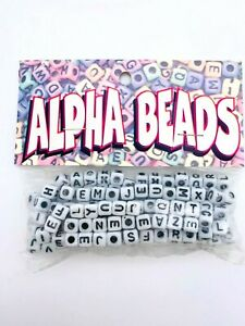 7 mm Plastic Alphabet Beads - Alpha Beads by  Cousin Corp - Vintage - White