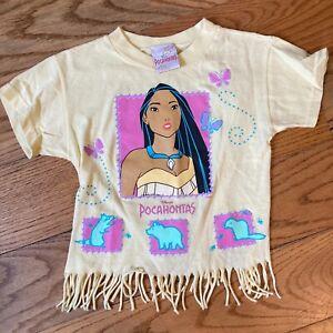 Vintage 90s Disney Pocohantas Movie Childrens Crop T-Shirt Size 5-6 Made In USA