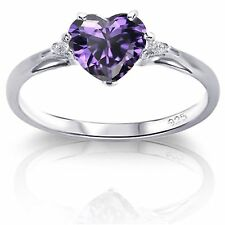 Elegant Heart Genuine Sterling Silver Simulated Diamond / Opal Birthstone Ring