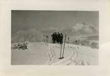 PHOTO ANCIENNE - VINTAGE SNAPSHOT - SPORT SKI EQUIPEMENT TRACES - SKIING