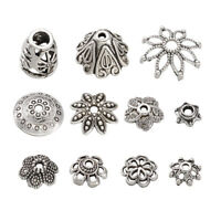 50pcs Mixed Flower Cone Tibetan Style Alloy Bead Caps Antique Silver 5~19x3~12mm