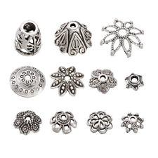 50pcs Mixed Flower Cone Tibetan Style Alloy Bead Caps Antique Silver 5~19x3~12mm
