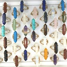 50pcs/Lot Gold Plated Bullet Shape Gemstone Rings Vertical Design Mix Lot
