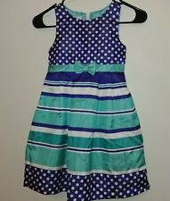 jessica ann girls dresss size 6 blue green white stripes and dots sleeveless